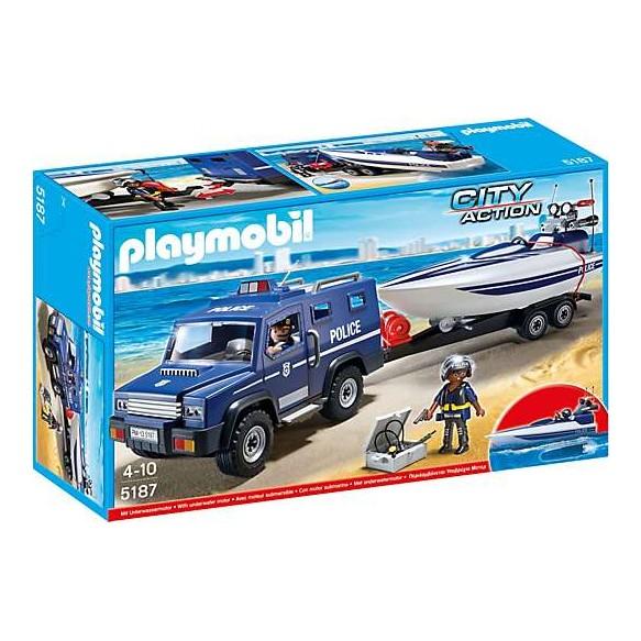 Playmobil 5187 Pojazd terenowy policji z motorówka