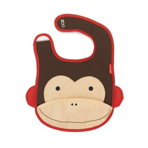 SKIP HOP Śliniak na rzep z kieszonką Zoo Małpa