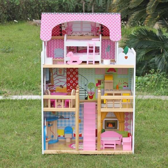 Domek dla lalek Drewniany Melisa Piętrowy Różówy