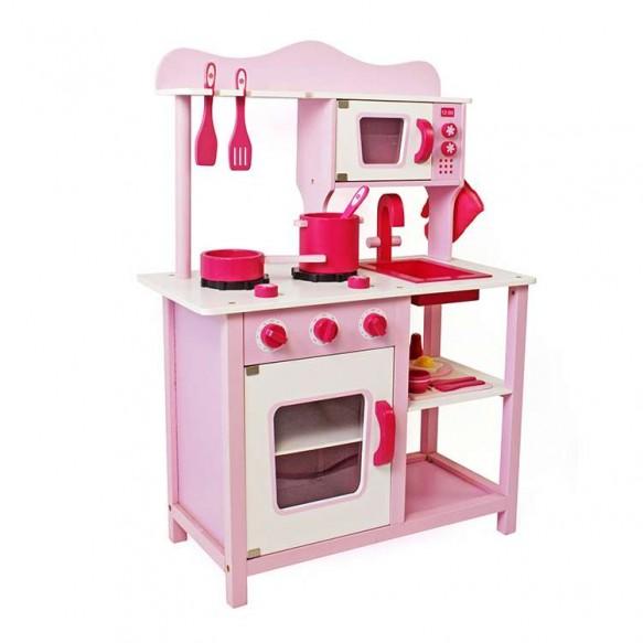 Kuchnia drewniana Marta Różowa + Mikrofalówka