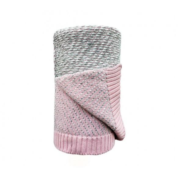 Ciepły koc bawełniany z wełną różowy / Lullalove