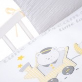 Pościel 3-el drukowana Albero Mio by Klupś - Choo Choo K086 szaro-żółta