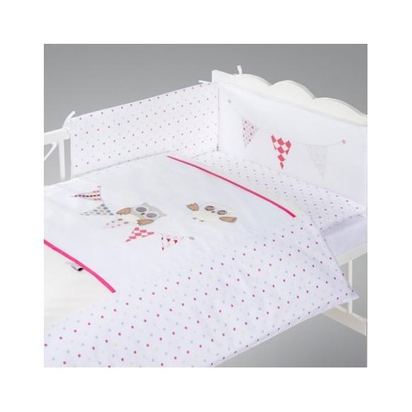 Pościel 3-el haftowana Albero Mio by Klupś - Nocne Sówki H237 różowe