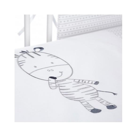 Pościel 3-el haftowana Albero Mio by Klupś - Wesoła Zebra H196 szara