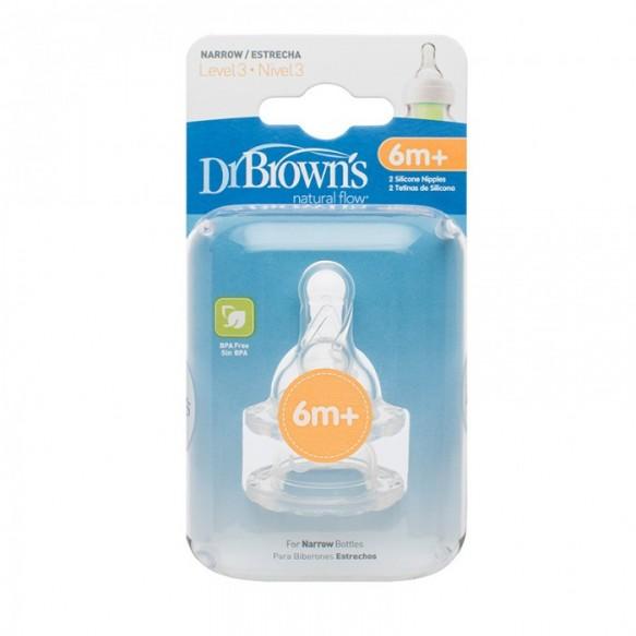 Smoczki do butelki Dr Brown's STANDARD poziom :3, 2PAK, +6 miesięcy