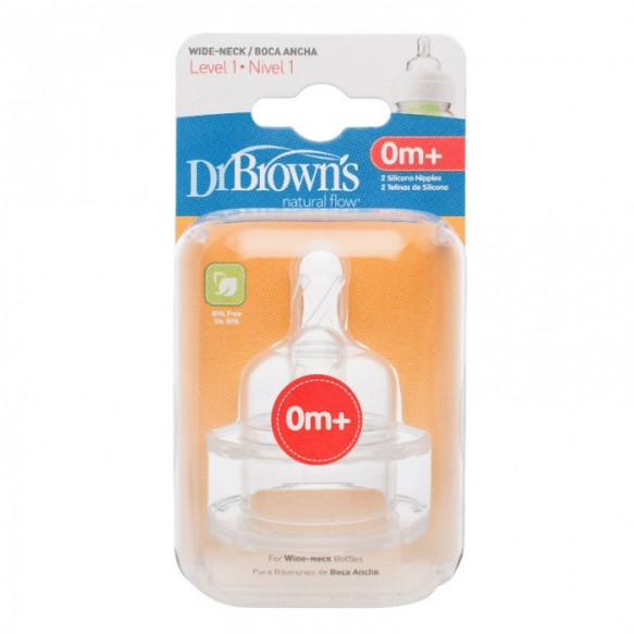 Smoczki do butelki Dr Brown's Szeroka szyjka poziom: 1, od 0-3 miesięcy.