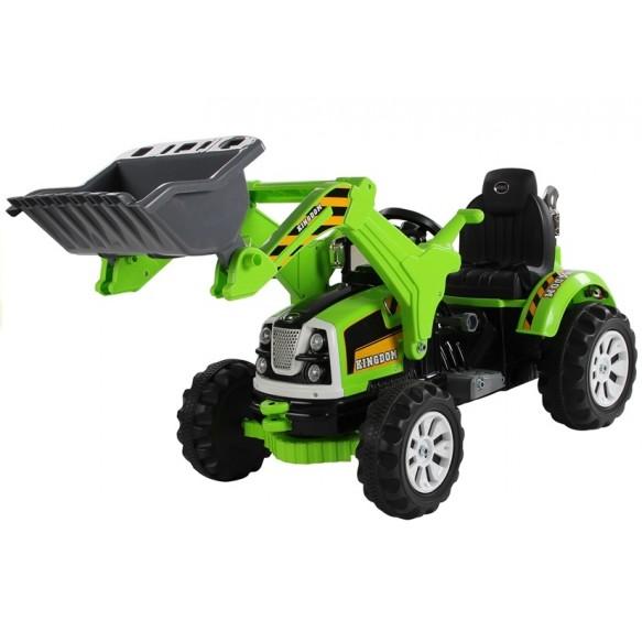 Koparka Ładowarka Traktor na Akumulator z Ruchomą Łyżką zielony