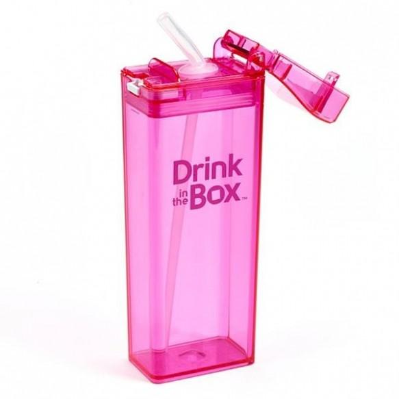 DRINK IN THE BOX Bidon ze słomką pink 350ml