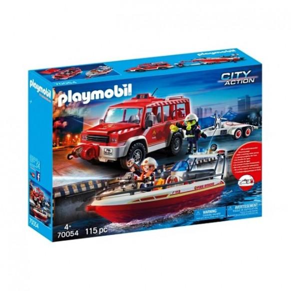 Playmobil 70054 Samochód strażacki z łodzią
